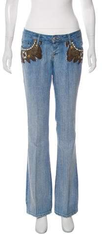 Dolce & Gabbana Patterned Mid-Rise Flared Jeans