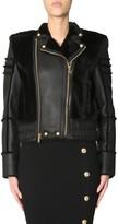 Balmain Fur Inserts Biker Jacket