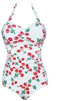 Deercon Women Plus Size One Piece Halter Swimwear( L)