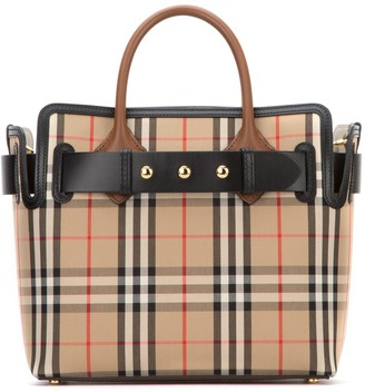 Burberry Vintage Check Triple Stud Belt Small Tote Bag