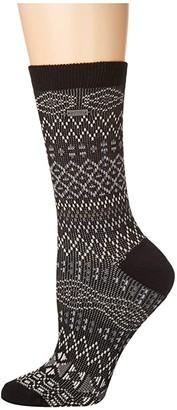 Sorel Cotton Jacquard Pattern Crew (Black) Women's Crew Cut Socks Shoes