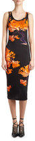 Givenchy Floral-Print Jersey Tank Dress, Black/Orange
