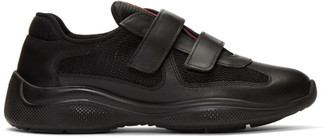 Prada Black Leather and Mesh Straps Sneakers