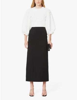 Huishan Zhang Colette puffed-sleeve crepe maxi dress