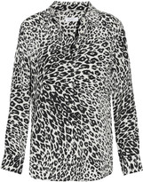 Equipment Slim Signature leopard-print washed-silk shirt
