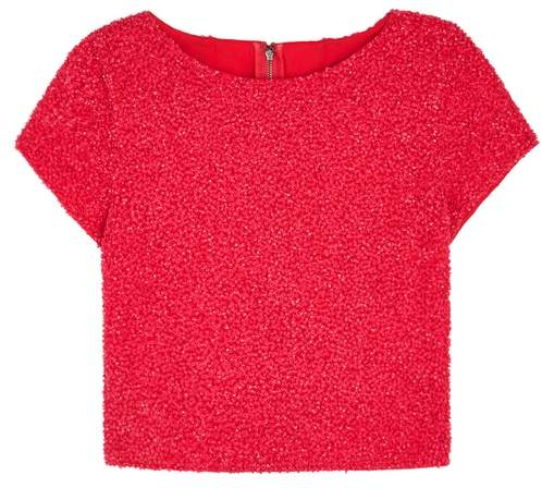 Alice + Olivia Kelli Pink Cropped Sequinned Top