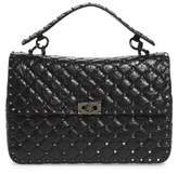 Valentino Garavani Rockstud Leather Top Handle Satchel - Black