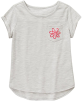 Gymboree Gray Stripe Slub Knit Sequin Embroidery Hi-Low Tee - Girls