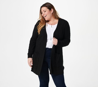 Denim & Co. Petite _Cable Long Sleeve Open Front Cardigan