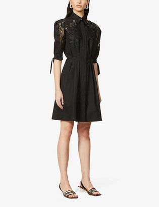 Alberta Ferretti Puff-sleeve broderie stretch-cotton mini dress