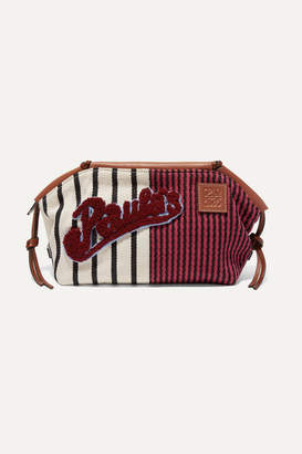 Loewe + Paula's Ibiza Cushion Appliqued Leather-trimmed Striped Canvas Pouch - Burgundy