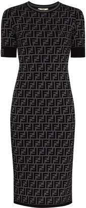 Fendi FF motif fitted midi dress