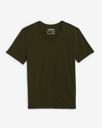 Express V-Neck Short Sleeve Slub T-Shirt