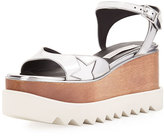 Stella McCartney Star Wooden-Platform Sandal, Silver