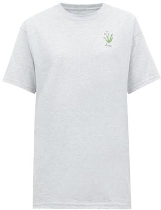 Raey X Cressida Jamieson Hope-embroidered T-shirt - Grey