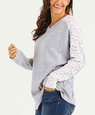 Suzanne Betro Weekend Women's Tunics 101HEATHER - Heather Gray & Ivory Lace-Sleeve Raglan Tunic - Women & Plus