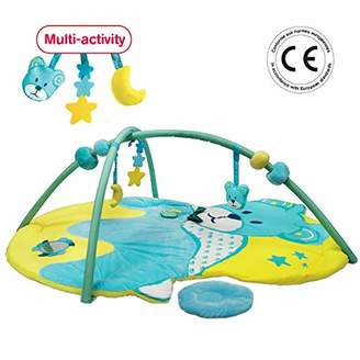 Ludi Bear Activity Mat from Birth Large Soft & Secure Rug 102cm x 132cm 8 Activities to Play: Musical chip, Sliding Balls. Removable Arches. - 20007