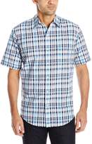 Arrow Men's Short Sleeve Sea Jack Seersucker Plaid Shirt