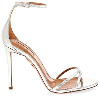 Aquazzura Purist Metallic Leather Ankle-Strap Sandals