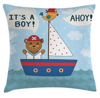 "East Urban Home Ahoy Its A Boy Indoor / Outdoor 36"" Throw Pillow Cover"