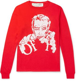 Off-White Intarsia Cotton-Blend Sweater