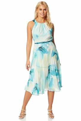 Roman Originals Women Floral Print Pleated Midi Dress - Ladies Spring Summer Sleeveless Round Neck Race Day Special Occasion Wedding Guest Evening Ruffle Frill Dresses - Green - Size 20