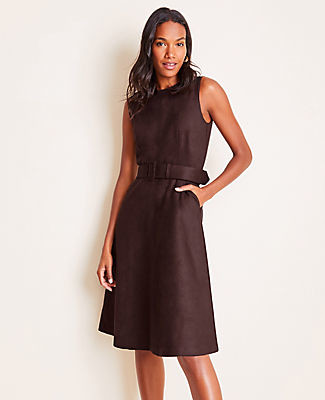 Ann Taylor Faux Suede Belted Flare Dress