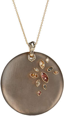 Alexis Bittar Navette Crystal Large Disc Pendant Necklace, Chocolate