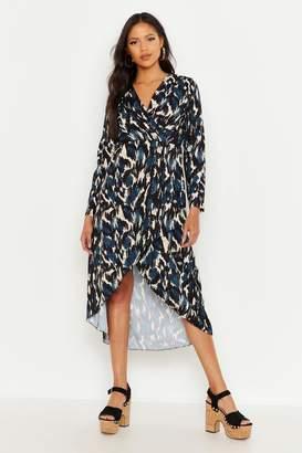 boohoo Tall Abstract Print Wrap Midi Dress