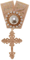 Cara Accessories Synthetic Pearl and Cross Embellished Ribbon Pin