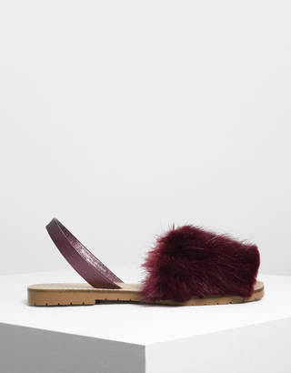 Charles & Keith Furry Slingback Sandals