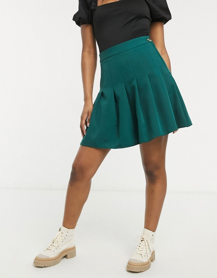 Thumbnail for your product : New Look pleated mini skirt in dark green