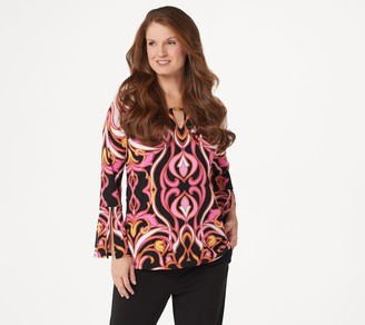 Dennis Basso Printed Caviar Crepe Top with Keyhole