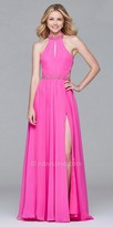 Faviana Chiffon Beaded Racer Back Prom Dress