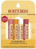 Burt's Bees 100% Natural Moisturizing Lip Balm, - Pink Grapefruit, Mango, Coconut & Pear, Pomegranate - 4 Tubes