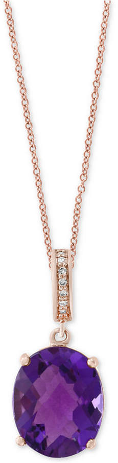 Effy Amethyst (4-3/8 ct. t.w.) & Diamond Accent Pendant Necklace in 14k Rose Gold
