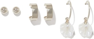 Forever New Tara Three-Pack Hoop and Charm Earrings - Gold/Pearl - 00