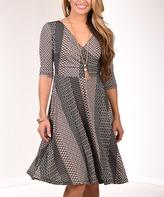 Beige & Green Surplice Three-Quarter Sleeve A-Line Dress