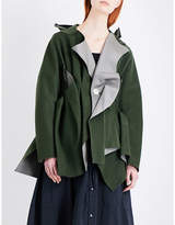 Undercover Ladies Khaki Asymmetric Wool-Blend Coat