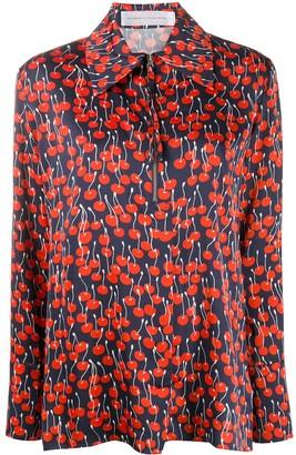 Victoria Victoria Beckham Cherry-Print Half-Zip Blouse
