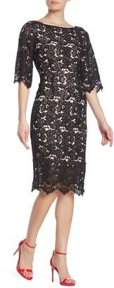 Marina Scallop Lace 3/4 Sleeve Dress