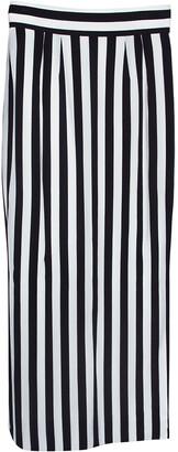 Dolce & Gabbana Monochrome Striped Crepe Maxi Skirt S