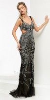 Jasz Couture Lace Cut Out Scroll Beaded Prom Dress