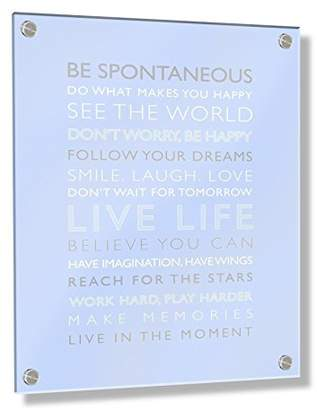 Camilla And Marc Feel Good Art Wall Mounted Acrylic Frame with Stand-Off Bolts (60 x 40 x 0.6 cm, Large, Baby Blue, Live Life/Nursery Dècor)