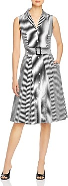 T Tahari Striped Belted Shirt Dress
