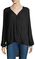 Willow & Clay Embellished Drape-Front Blouse