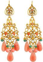 Jose & Maria Barrera Coral- & Jade-Hued Chandelier Earrings, Multi