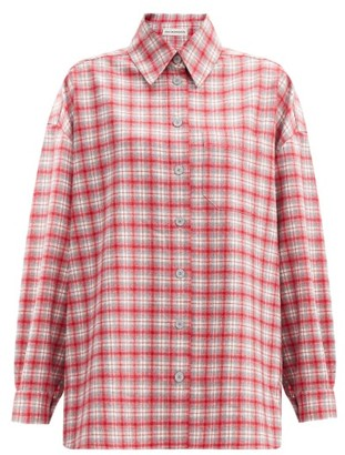 Vika Gazinskaya Dropped-sleeve Checked Wool-flannel Shirt - Red Multi
