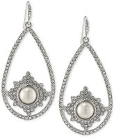 Carolee Silver-Tone Imitation Pearl and Pavé Pear Drop Earrings