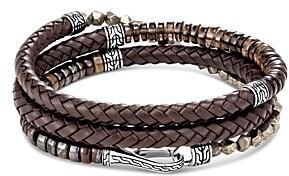John Hardy Sterling Silver & Leather Classic Chain Smoky Quartz, Tiger Iron & Pyrite Triple-Wrap Bracelet